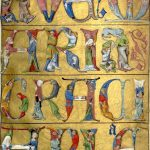 The beginning of the verse in historiated letters in the book of hours Heures de Charles d'Angoulême